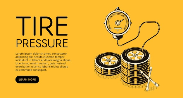 Tire pressure pumping illustration of car auto service station advertisement. Free Vector