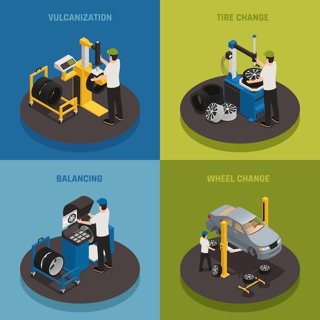 Шиномонтаж 2х2 состав комплект вулканизационных балансировочных колес с изменением квадратной композиции Бесплатные векторы