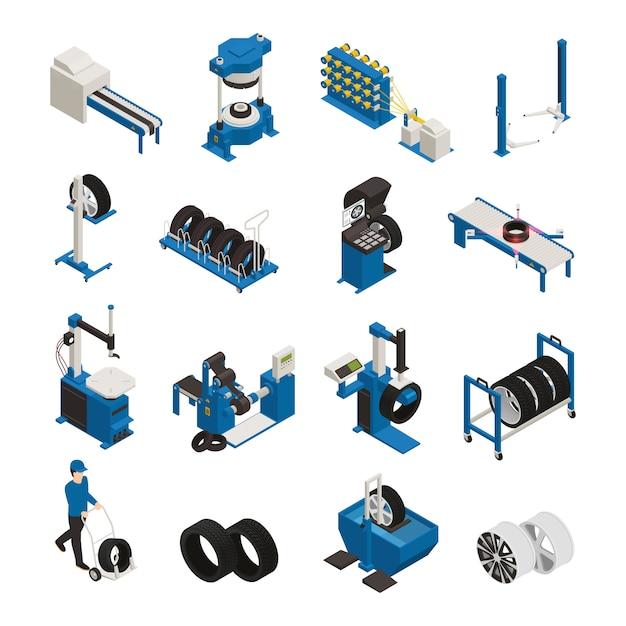 Производство шин изометрических иконок с промышленным оборудованием для изготовления и обслуживания автомобильных колес Бесплатные векторы