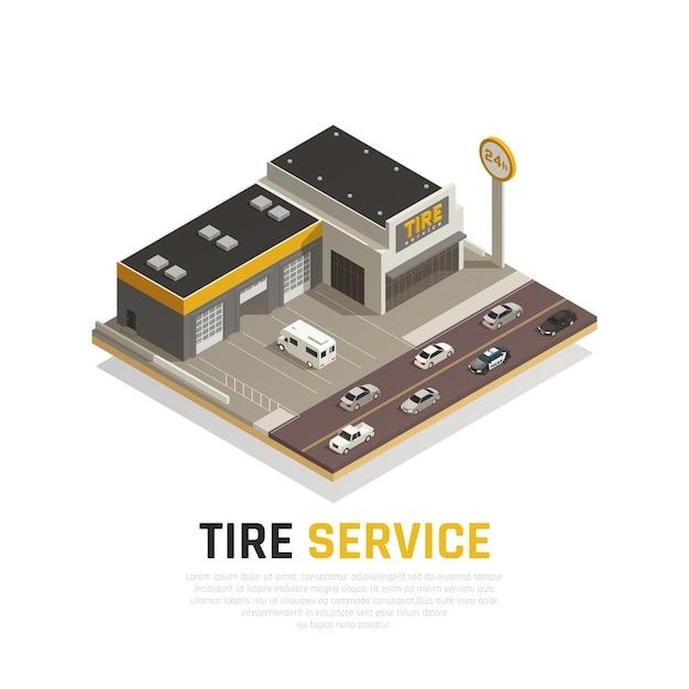 Composizione isometrica di servizio di produzione di pneumatici con auto e costruzione di pneumatici Vettore gratuito