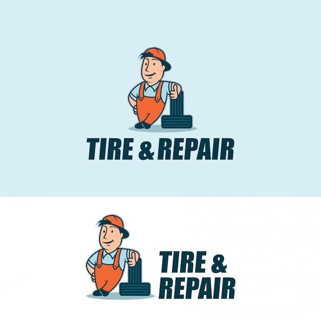 Tire and repair character logo Premium Vector