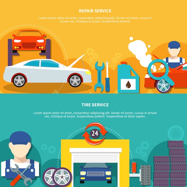 Tire service and car spares horizontal banners Free Vector