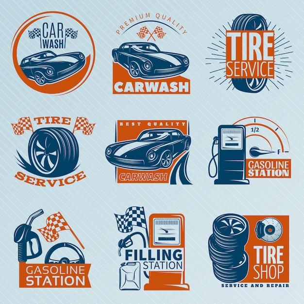 Эмблема обслуживания шин установлен в цвете с описаниями автомойки шиномонтаж автозаправочная станция векторные иллюстрации Premium векторы