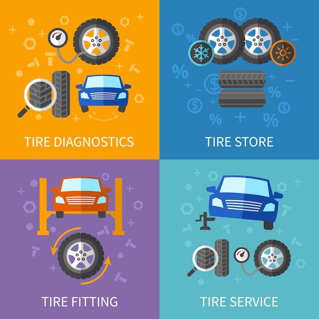 タイヤサービスフラットコンセプトセット。診断と修理車のバナー 無料ベクター