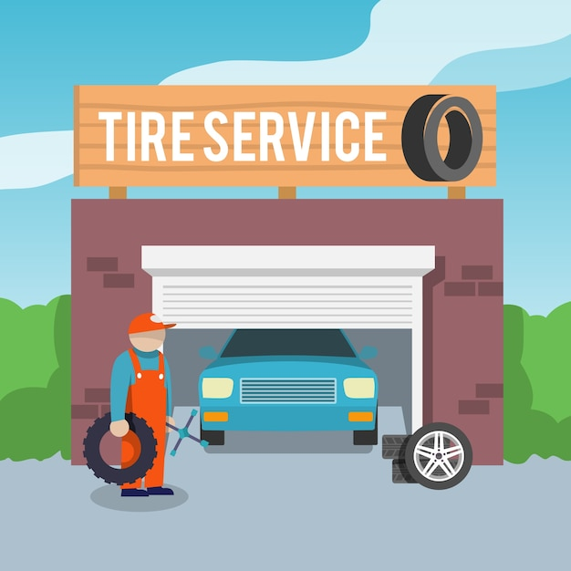 Tire service poster Free Vector