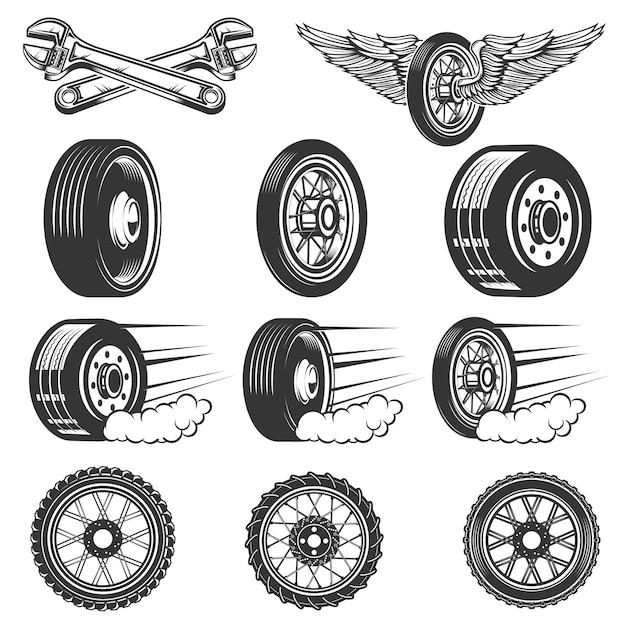 Шиномонтаж. комплект иллюстраций автошин автомобиля на белой предпосылке. элементы для логотипа, этикетки, эмблемы, знака. иллюстрация Premium векторы