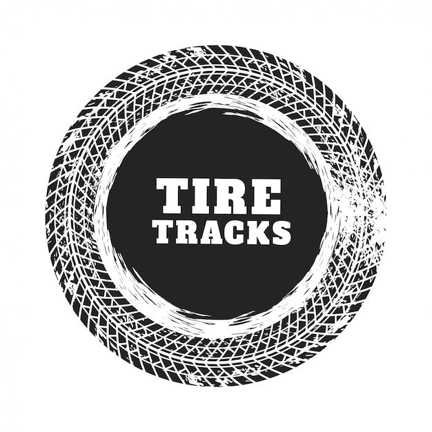Tire track circle background design Free Vector