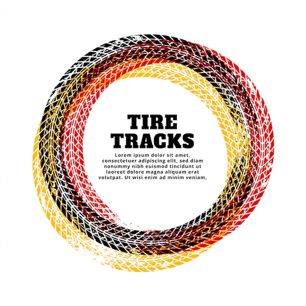 Tire track circle frame background Free Vector