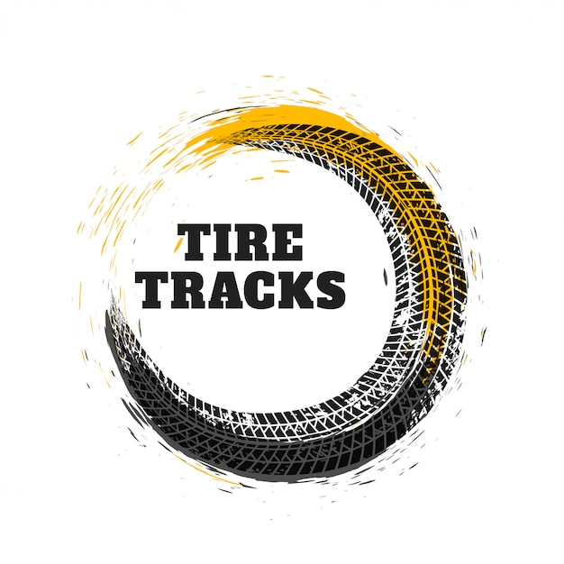 Tire track in circle style Free Vector
