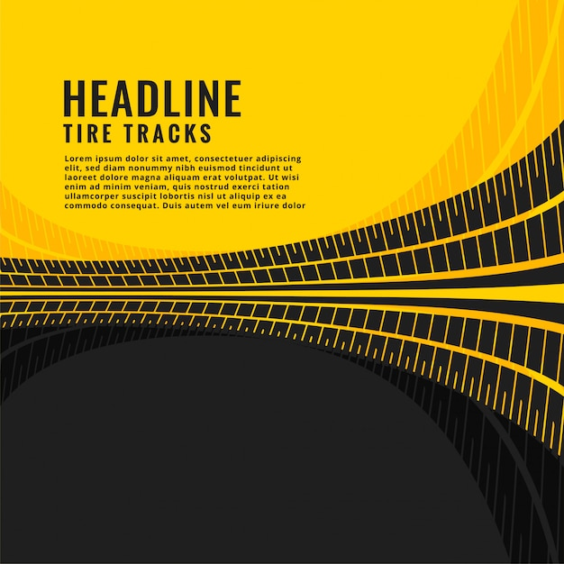 Tire track marks background design Free Vector