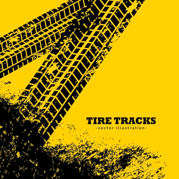 Tire tracks on grunge yellow background Free Vector