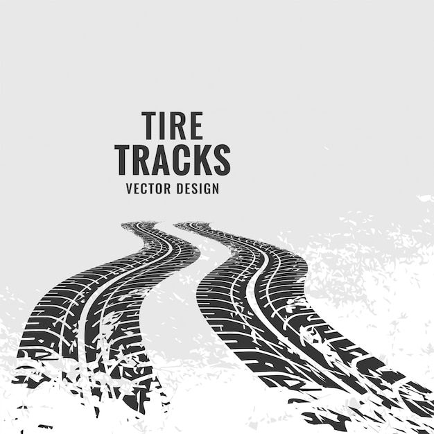 Tire tracks mark in perspective Free Vector