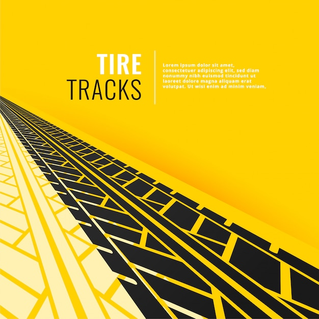 Tire tracks in perspective om yellow background Free Vector