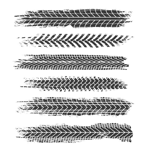 Tire tracks set Premium Vector