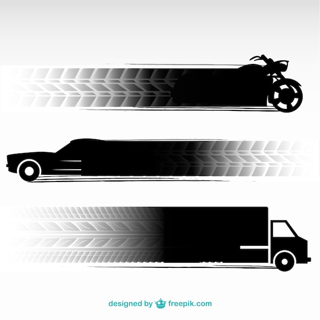 Tire tracks transportation vehicles set Free Vector