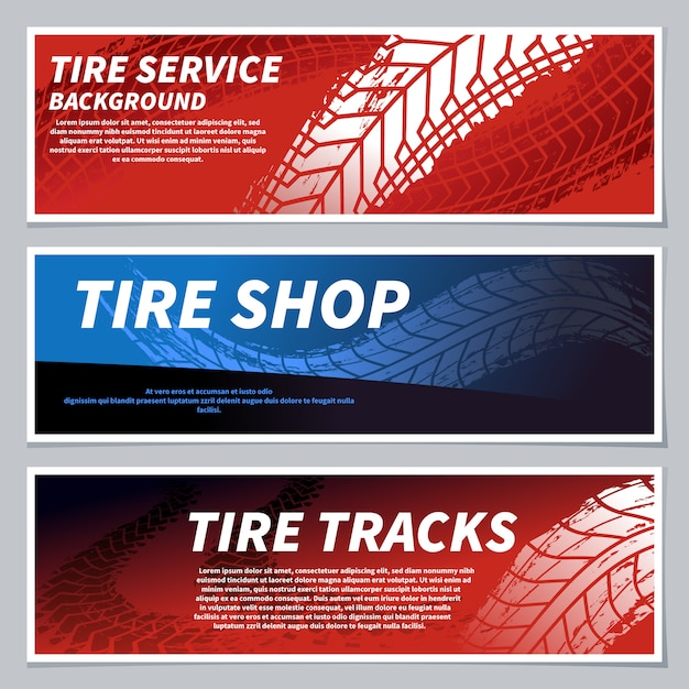 Tire tread tracks banners. motorcycle, car and race bike dirty grunge road tire prints. tread automobile, motor sport banner Premium Vector