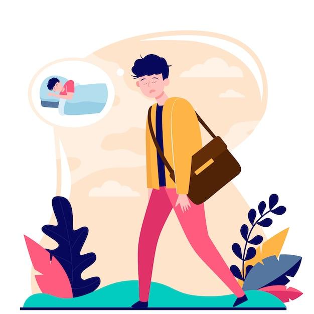 Уставший взрослый офисный работник собирается без кофе Бесплатные векторы