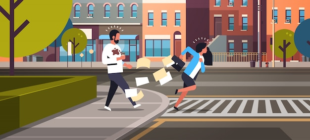 Tired business woman running crosswalk pushing man with coffee cup Premium Vector