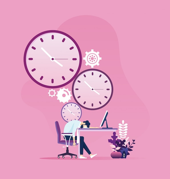 Tired businessman sleeping on a table with clock Premium Vector