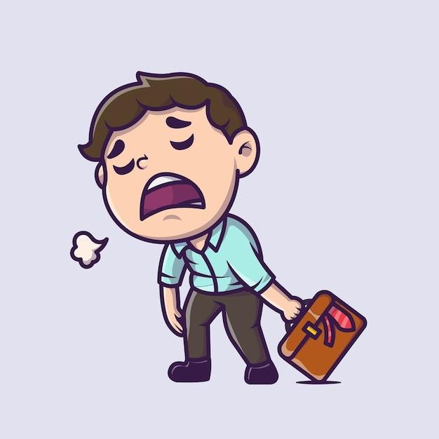 Illustrazione dell'icona del fumetto del lavoratore stanco dipendente. persone business icona concetto isolato. stile cartone animato piatto Vettore gratuito