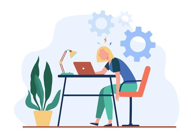 ノートパソコンで働いて燃え尽き症候群を感じている疲れた疲れた女性。過負荷、過労、疲労の概念のベクトル図。 無料ベクター