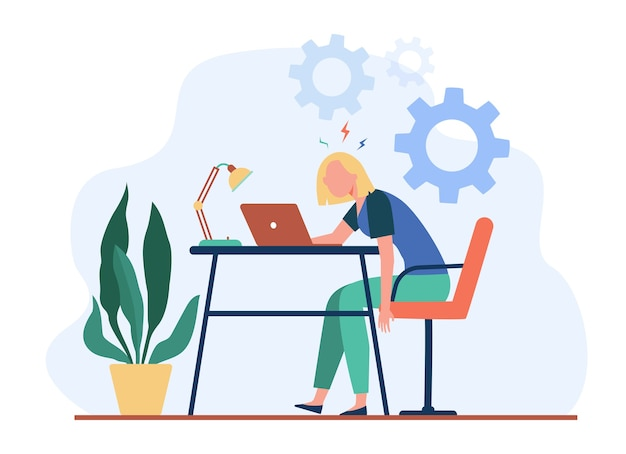 Donna esausta stanca che lavora al computer portatile e sensazione di burnout. illustrazione vettoriale per sovraccarico, superlavoro, concetto di stanchezza. Vettore gratuito