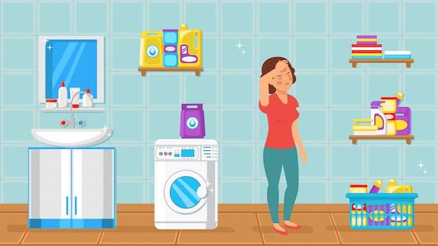 Tired housewife in bathroom vector illustration Premium Vector
