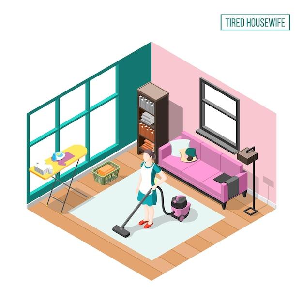 Усталая домохозяйка изометрической композиции с женщиной в домашнем интерьере занята повседневными обязанностями Бесплатные векторы