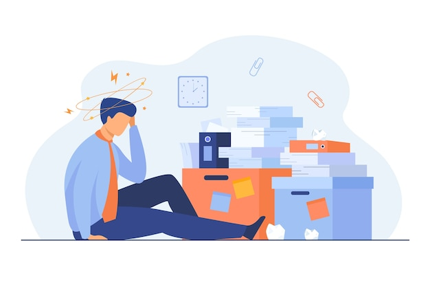 Tired man sitting on floor with paper document piles around flat illustration. Free Vector