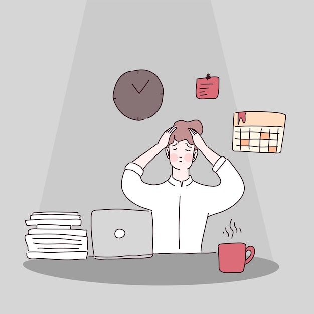 Tired office worker sitting on the chair Free Vector