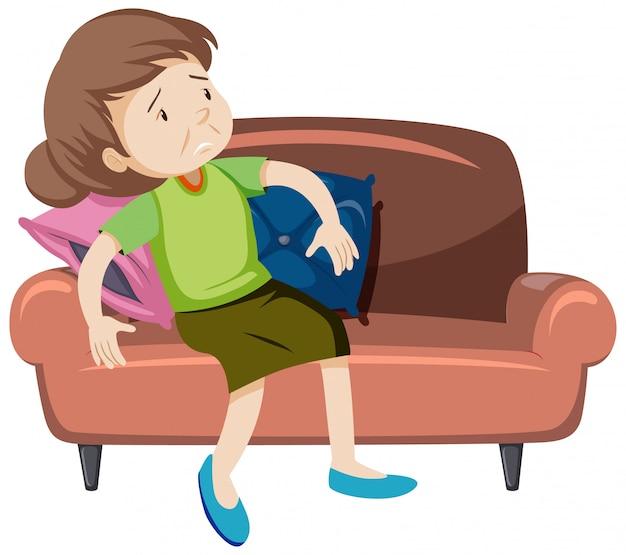 Vecchia stanca sul divano Vettore gratuito