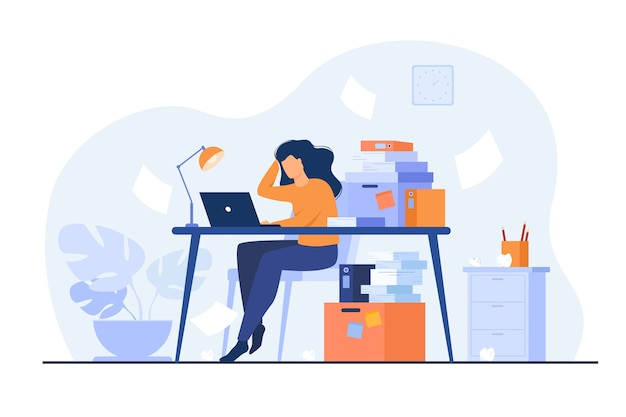 Tired overworked secretary or accountant working at laptop near pile of folders and throwing papers. vector illustration for stress at work, workaholic, busy office employee concept Free Vector