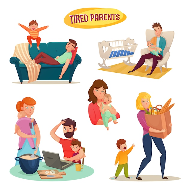 Tired parents isolated decorative elements Free Vector