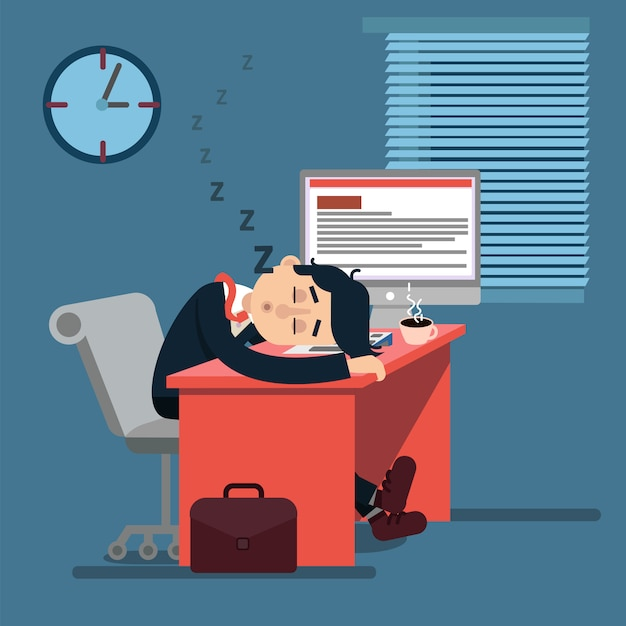 Tired sleeping businessman at work
