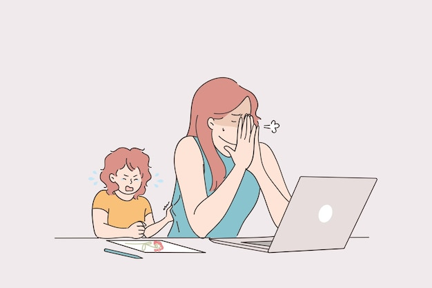 Tired stressed young woman mother trying to work from home at laptop with crying baby toddler Premium Vector
