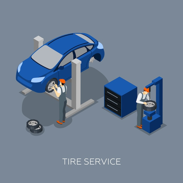 Tires auto service isometric banner Free Vector