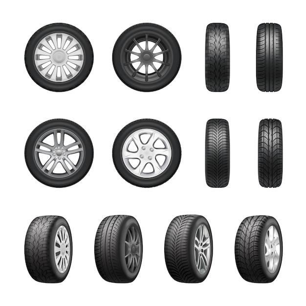 Tires wheels realistic set Free Vector