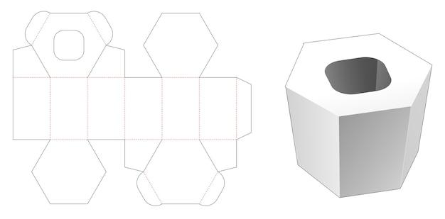 Tissue hexagonal box die cut template Premium Vector