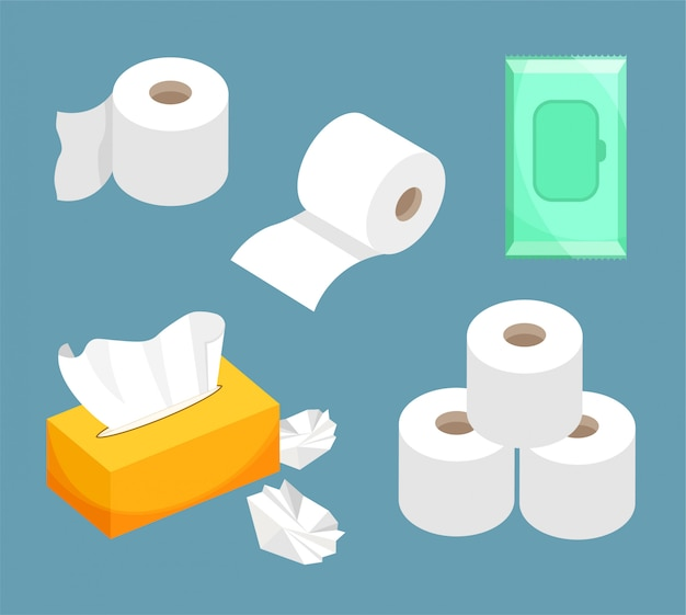 Tissue paper set, wet wipes, toilet paper roll. use for toilet, bathroom, kitchen. Premium Vector