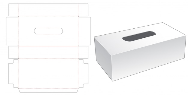 Tissues long box die cut template Premium Vector
