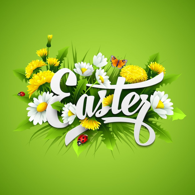 Title easter with spring flowers. Premium Vector