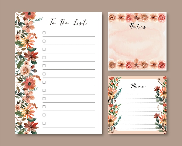 ブラウンとテラコッタの水彩画の花柄でリストとメモのテンプレートを作成するには Premiumベクター