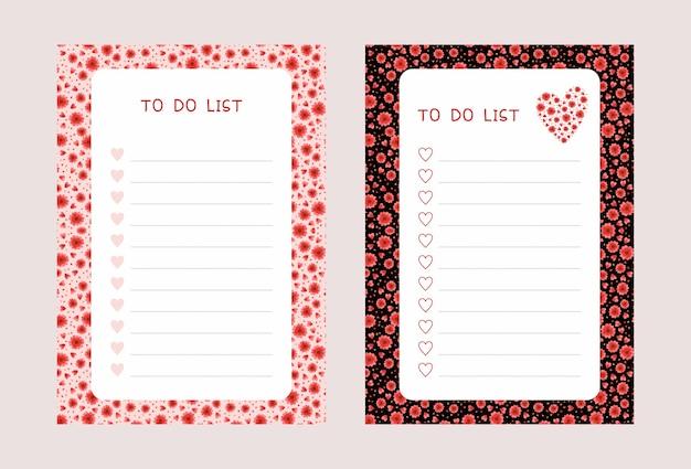 할 일 목록 템플릿 세트. 붉은 꽃과 하트 메모장 체크리스트 무료 벡터