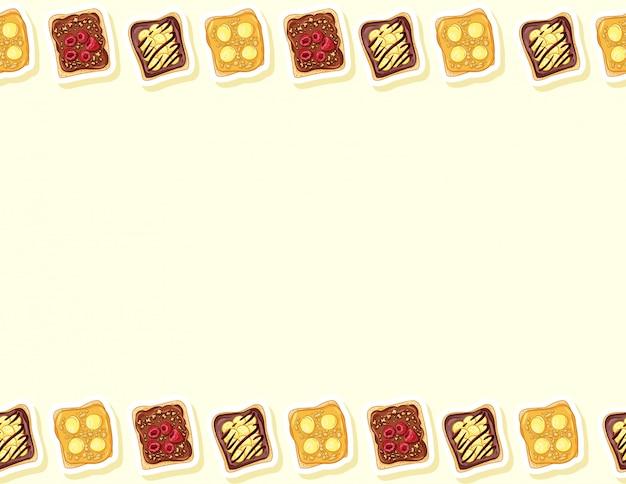 トーストパンサンドイッチコミックスタイルのシームレスパターン。チョコレートまたはピーナッツバターとバナナの落書きのサンドイッチ。朝食の食べ物。文字形式の装飾背景テクスチャタイル。テキストのためのスペース Premiumベクター