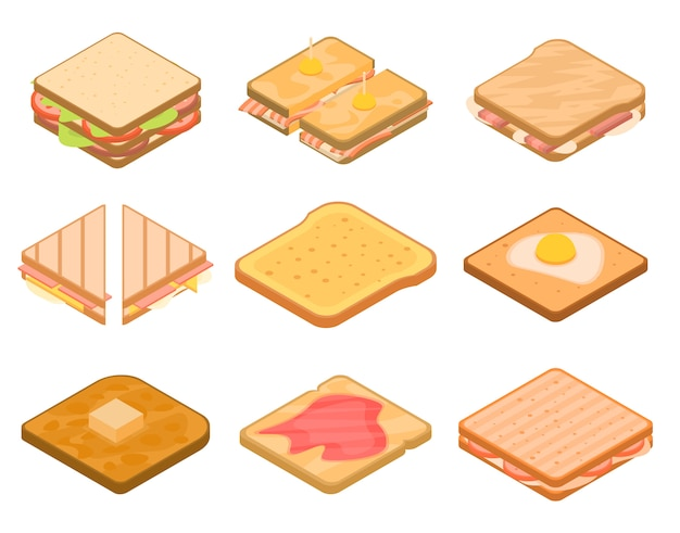 Toast icons set, isometric style Premium Vector