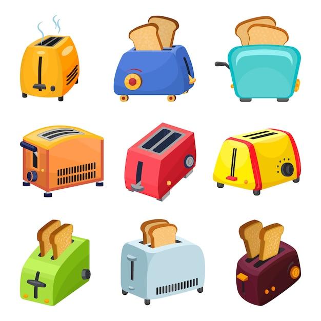 Toaster icons set, cartoon style Premium Vector