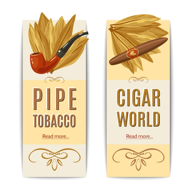 Tobacco banners set Free Vector