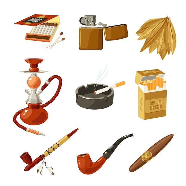 Tobacco icons set Free Vector