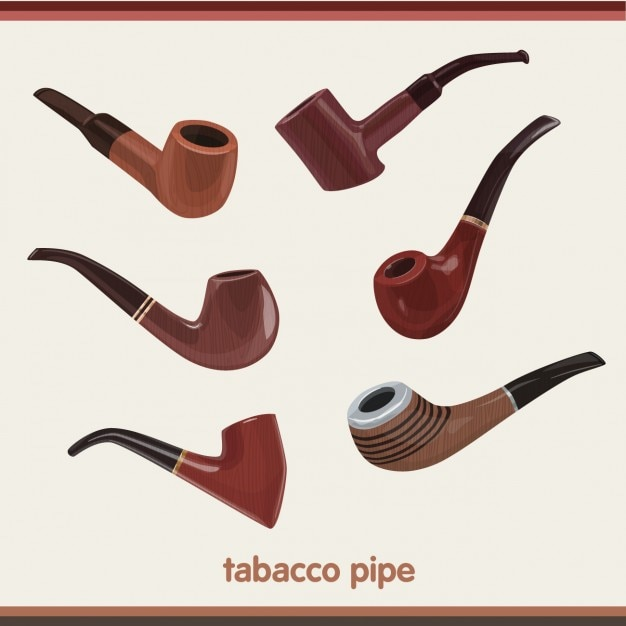 Tobacco pipes collection Free Vector