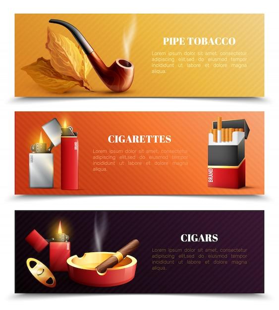 Banner orizzontale di prodotti del tabacco Vettore gratuito